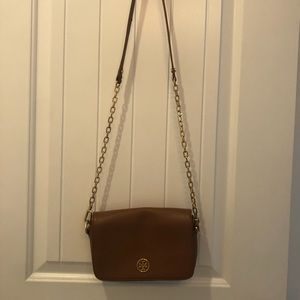 Tory Burch cognac crossbody gold embellishments.